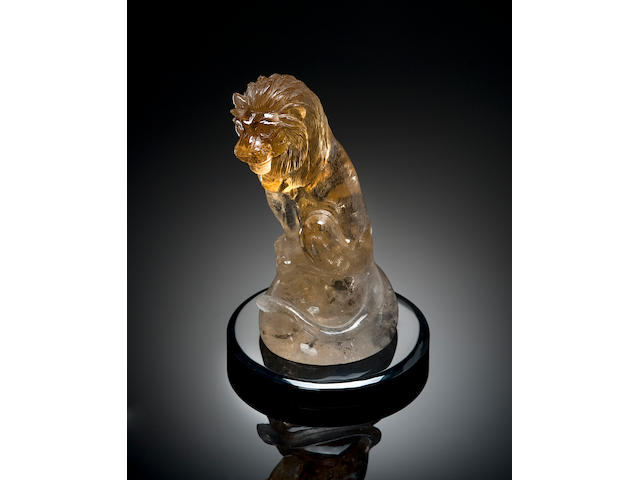 Natural Citrine Carving of a Lion