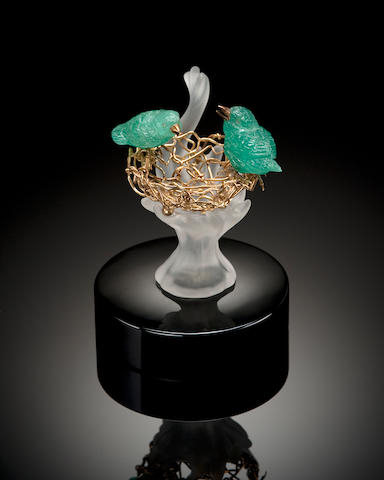 Emerald Carving of Birds in a Gold Basket