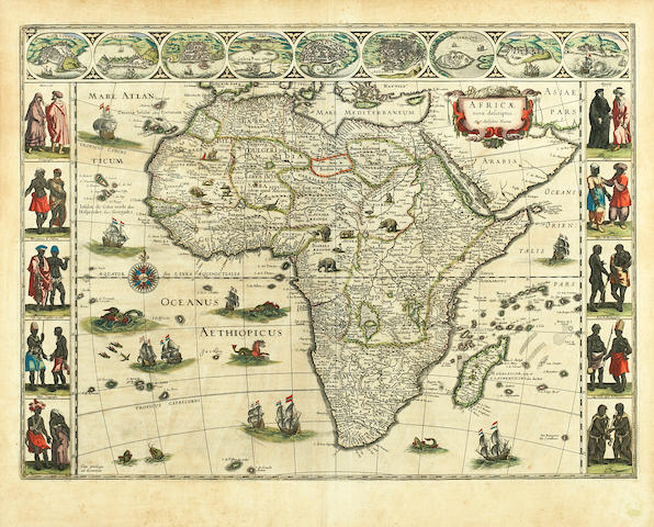 BLAEU, WILLEM. 1571-1638. Africae nova descriptio. [Amsterdam, 1650 or later].