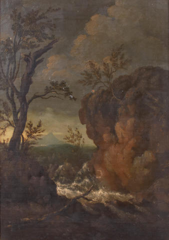 English School, late 18th Century A rocky landscape with Vesuvius in the distance 21 x 15in