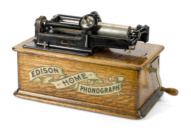 An Edison home phonograph with three cylinders
