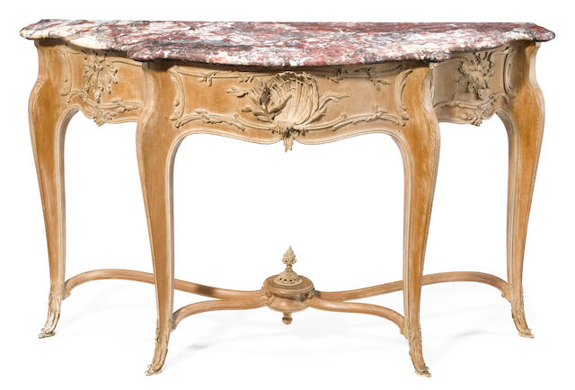 A Louis XV style paint decorated bronze mounted console with marble top