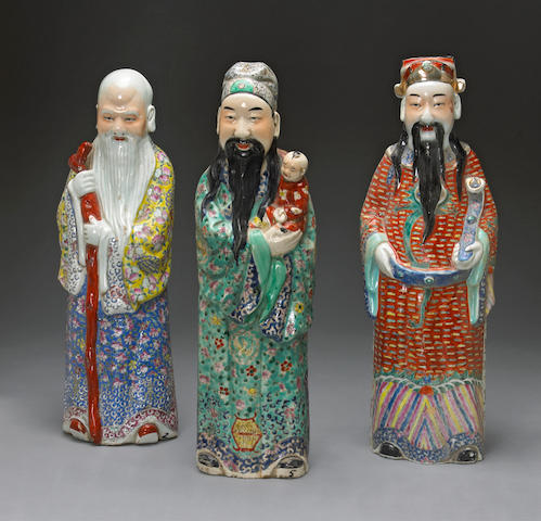 Three polychrome enameled porcelain figures of the Three Stars of Happiness 20th century