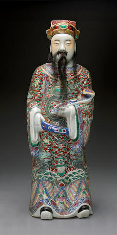 A polychrome enameled porcelain figure of Lu 20th century