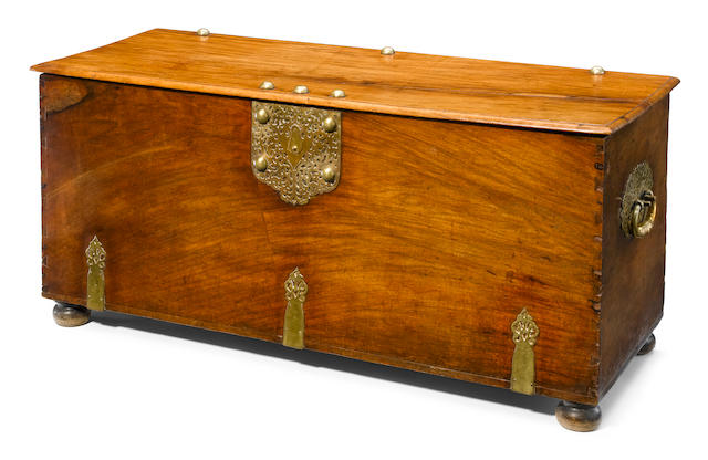 A Dutch Colonial Baroque brass bound walnut trunk