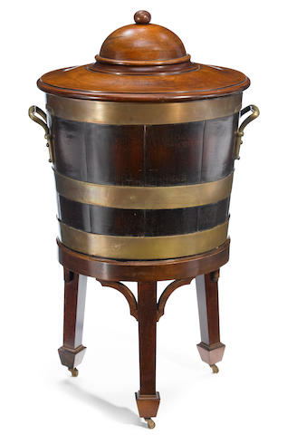 A George III brass bound mahogany wine cooler