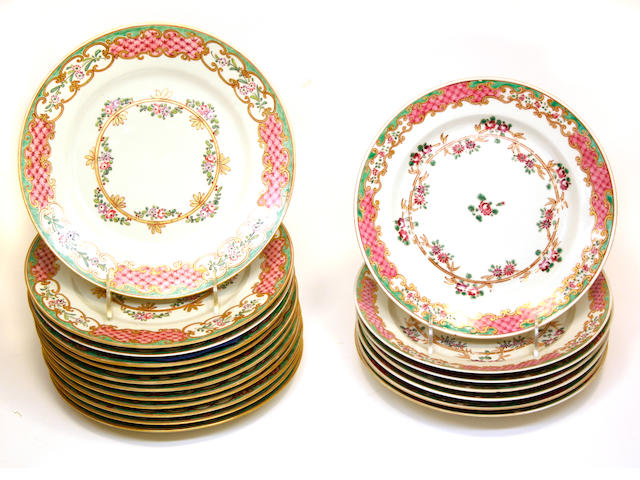 Twelve French porcelain Chinese export style plates and seven similar first quarter 20th century