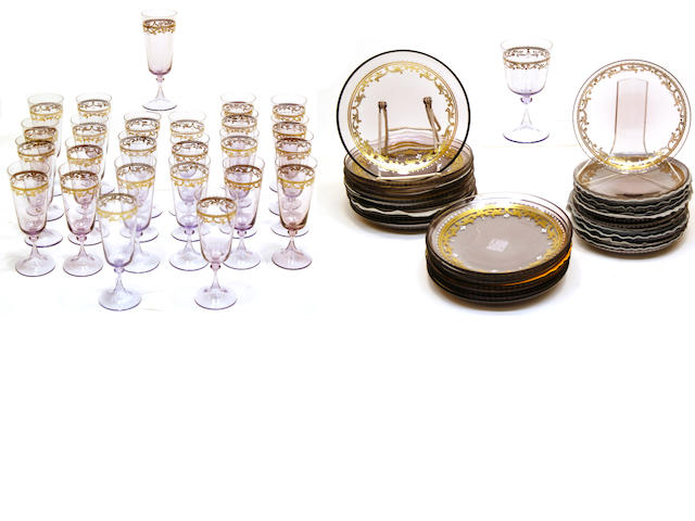A suite of Italian amethyst glass tableware