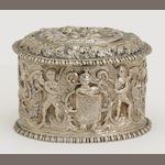 A Dutch 833 standard silver oval table box by Gebr. v. Straten, Hoorn, 1888