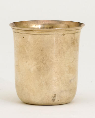 A French provincial 950 standard silver beaker With maker's mark rubbed, circa 1809-1819