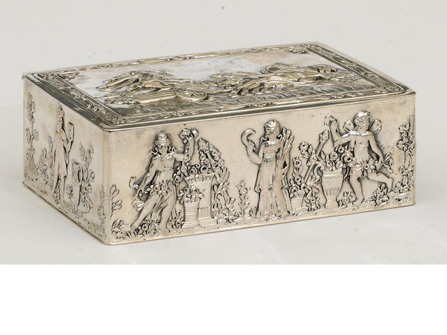 A German silver rectangular table box decorated with classical scenes by Janann S. Kurtz & Co., Hanau, circa 1870-1960