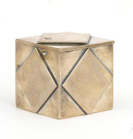 An Italian export sterling cube form table box Retailed by Tiffany & Co., New York, NY