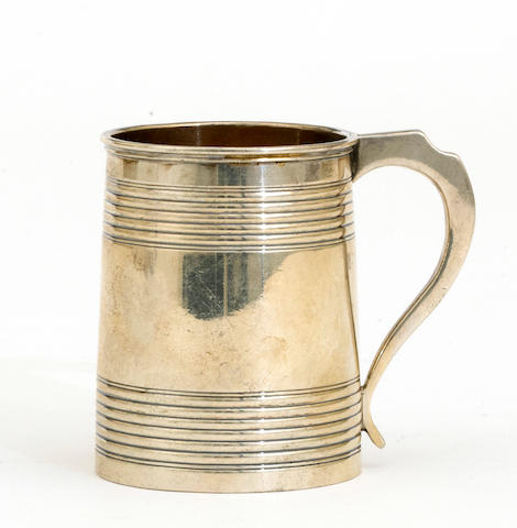 A George IV silver child's mug with ribbed bands by Stephen Adams II, London, 1820