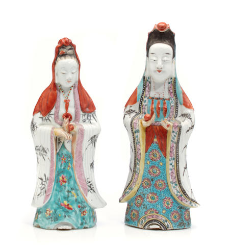 A pair of porcelain Daoist lady figures