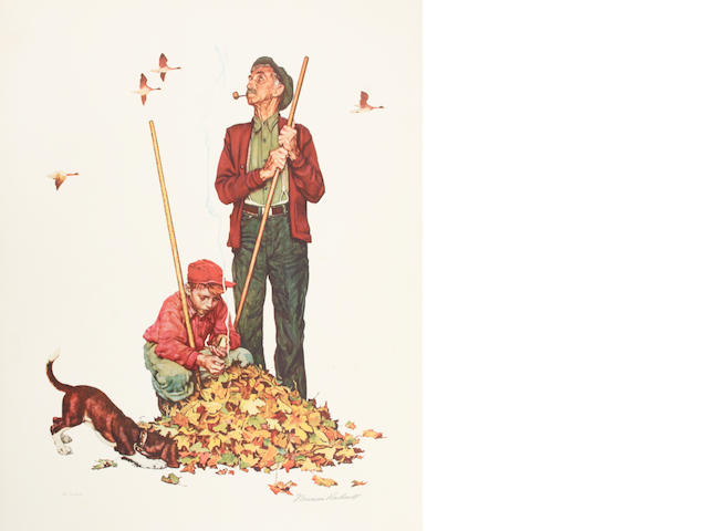 Norman Rockwell (American, 1894-1978); Grandpa and Me: Raking Leaves; Thomas S. Buechner, Norman Rockwell: Artist and Illustrator (Book); (2)