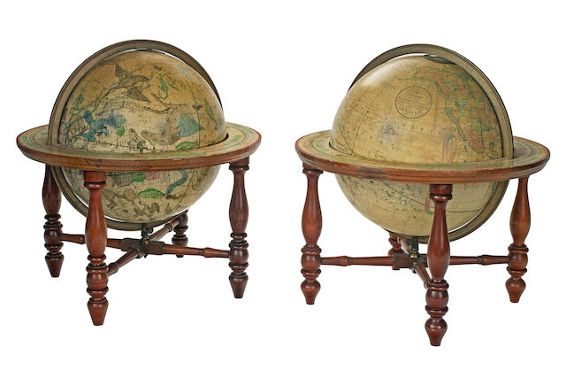 A pair of American table globes (the Franklin Globes), terrestrial and celestial<BR />H.B. Nims & Company<BR />Troy, New York, circa 1880