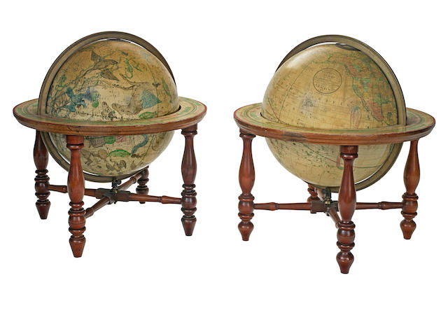 NIMS, H.B., & COMPANY. [A pair of American table globes (the Franklin Globes), terrestrial and celestial.] Troy, NY: [c.1880].