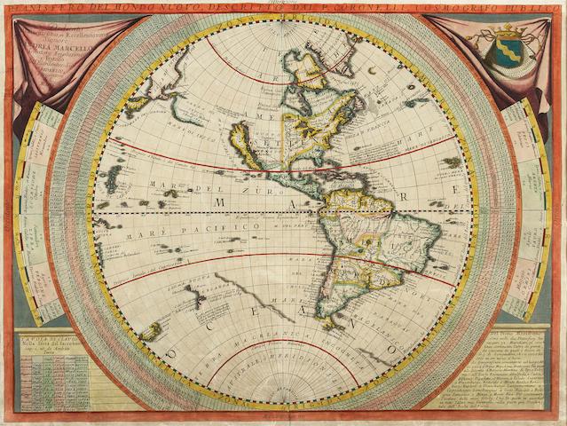 CORONELLI, VINCENZO MARIA. 1650-1718. Planisfero del Mondo Nuovo.... [Venice: 1690/1695.]