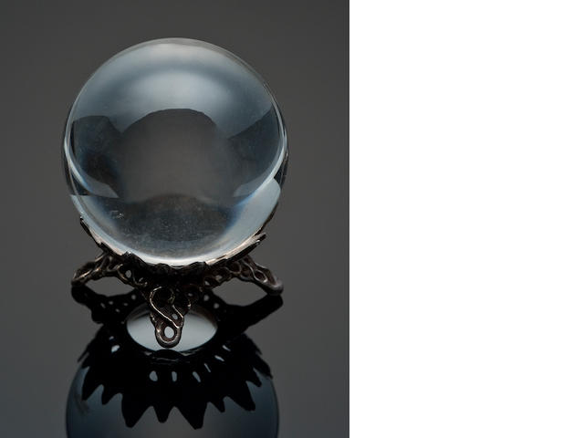 Quartz Sphere on Silver Stand