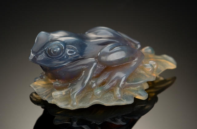 Black Opal Carving of a Frog