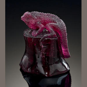Rubellite Lizard Carving
