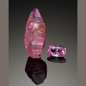 Pink Sapphire Crystal and Faceted stone, 1.79 cts. Sri Lanka