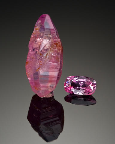 Pink Sapphire Rough and Cut