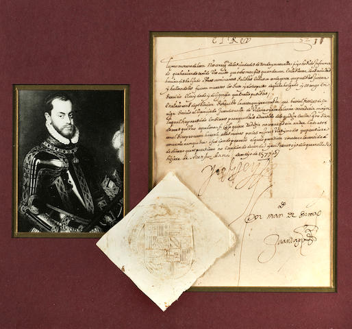 "PHILIP II, KING OF SPAIN. 1527-1598. Letter Signed (""Yo el rey""), 1 p, 4to, Aranjuez, May, 1577,"