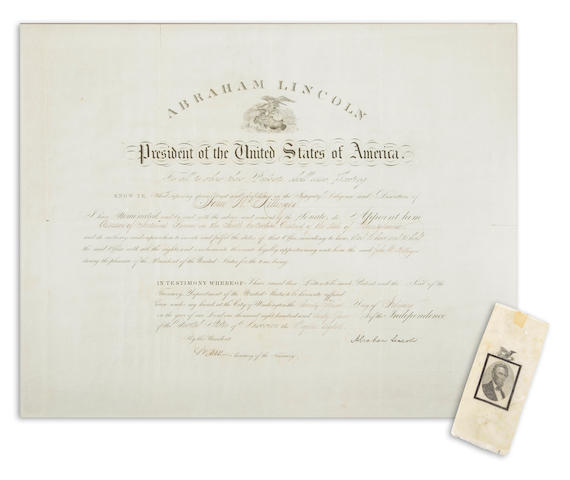 "LINCOLN, ABRAHAM. 1809-1865. Document Signed (""Abraham Lincoln"") as President, partially printed and accomplished in manuscript, 1 p,"