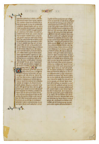 ILLUMINATED BIBLE LEAF. Illuminated Latin manuscript on vellum, [Paris, c.1330].