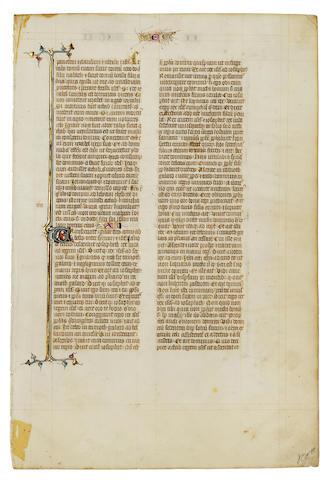 ILLUMINATED BIBLE LEAF. Illuminated Latin manuscript on vellum, [Paris, c.1330].