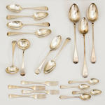 A George II-George IV silver assembled partial flatware set by London makers as follows<BR />William Chawner, 1837<BR />William Eaton, 1822<BR />Richard Crossley, 1792<BR />William Bateman II, 1827<BR />Elias Cachart, 1756<BR />Smith & Fearn, 1788<BR />William Seaman, 1784<BR />Thos. Northcote, 1791<BR />Hester Bateman, 1788<BR />Robert Rutland, 1808<BR />Thomas Barker, 1816<BR />Eley & Fearn, 1814/1820<BR />Solomon Hougham, 1809 <BR />Old English, matching crest  (41)