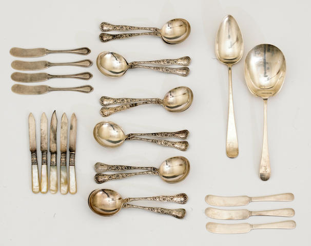A sterling set of twelve soup spoons by Gorham Mfg. Co., Providence, RI <BR />Marguerite, monogrammed: EL  (26)