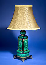 Malachite and Onyx Intarsia Lamp Base