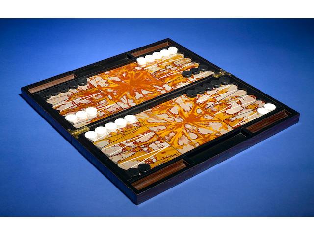 Tiger Iron Matrix, Jasper and Kascholong Opal Intarsia Backgammon Set