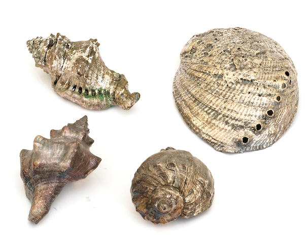 A group of four various silver deposit decorated sea shells