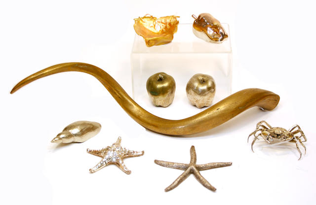 A bronze sculpture in the form of an animal horn, indistinctly signed, gilt lacquer tray and seven various silvered objects
