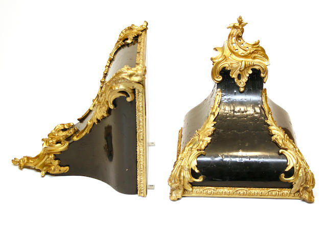 A pair of Louis XV style gilt-bronze-mounted black lacquer wall brackets 19th century