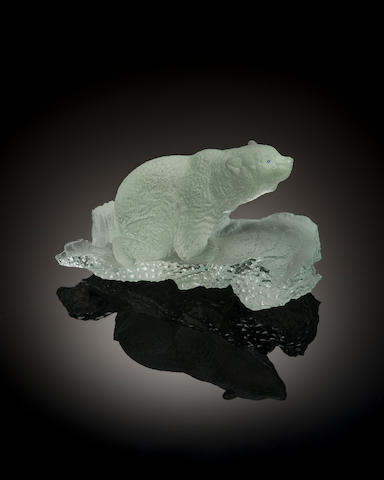 Aquamarine Carving of a Polar bear