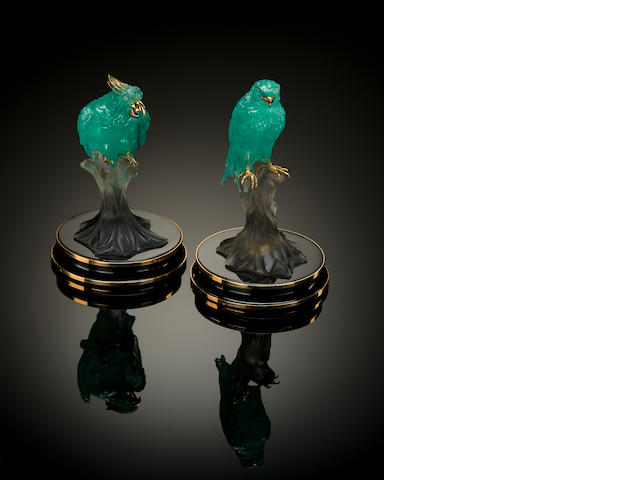 Pair of Carved Emerald Birds on Smoky Quartz, Onyx and Gold Bases