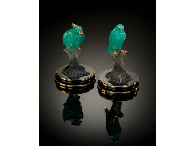Pair of Carved Emerald Birds on Smoky Quartz with Obsidian and Gold Bases