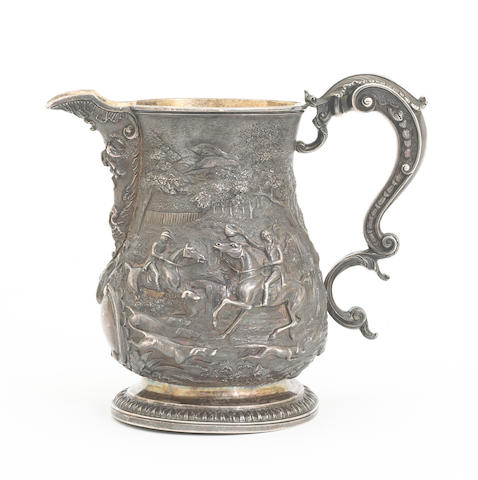 A George IV silver ale jug, later chased with a fox hunt scene bearing hallmarks for Charles Fox, London, 1827, also engraved: C. Moore (3 Abbey Ch'h Y'd Bath) Maker