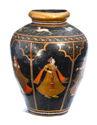 An imposing Southeast Asian paint decorated metal urn