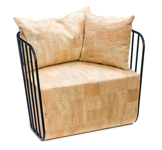 A Phase Design enameled steel chair with 'cork' fabric