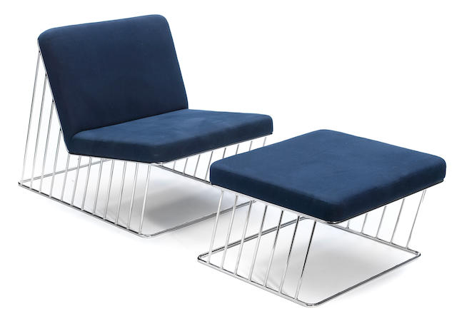A Phase Design chromed steel and upholstered lounge chair and ottoman