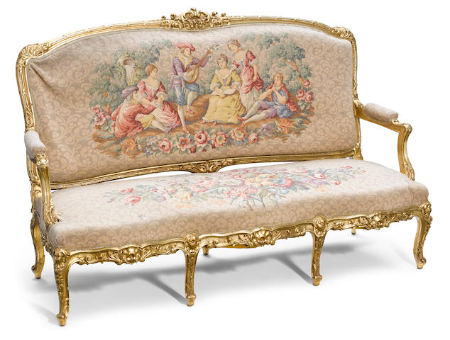 A Louis XV style carved giltwood canapé  late 19th century