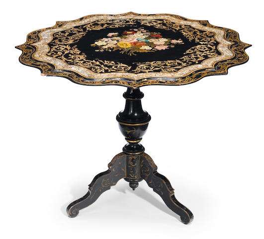 A Continental shell inlaid papier-mâché and ebonized tilt top center table  late 19th century
