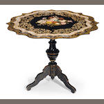 A Continental shell inlaid papier mâché center table