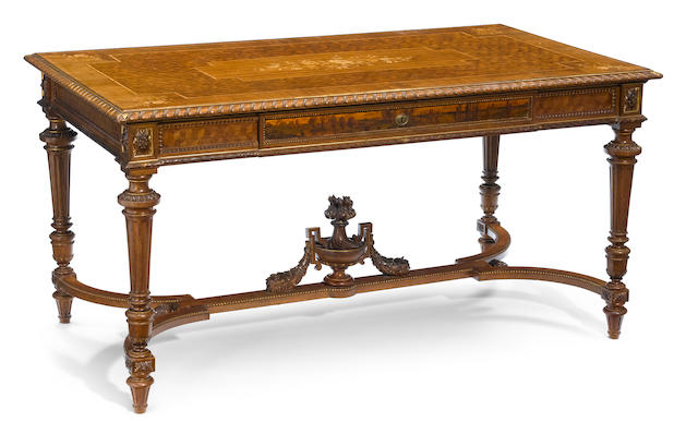 A very good quality Louis XVI style marquetry inlaid parcel gilt mahogany table de milieu  fourth quarter 19th century