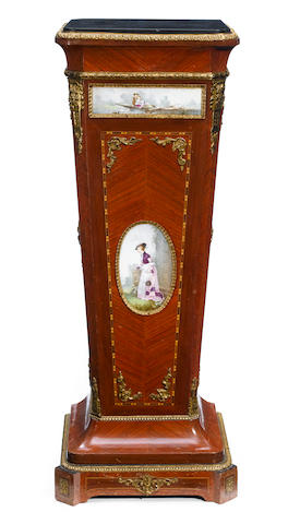 A Louis XVI style gilt bronze and porcelain mounted kingwood pedestal  circa 1900